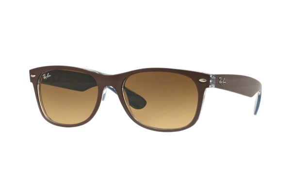 Ray-Ban New Wayfarer RB 2132 6189/85 Sonnenbrille in top mt cohocolate on blue - megabrille